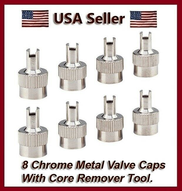 Chrome metal slotted head valve stem caps with core