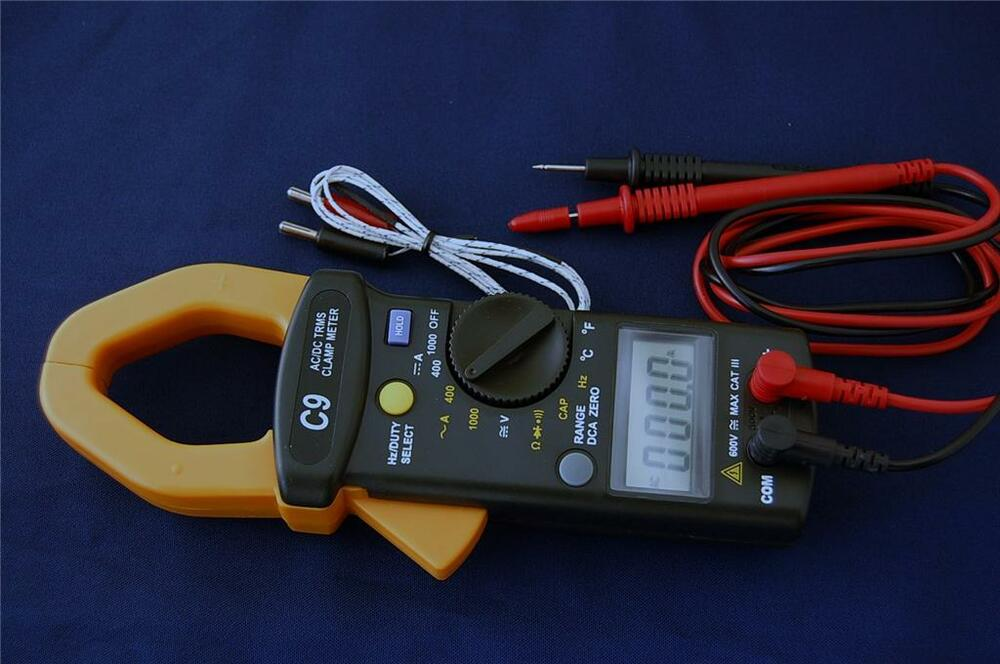 Clamp On Ammeter Dc : True rms ac dc clamp on meter ammeter dmm capacitor tester