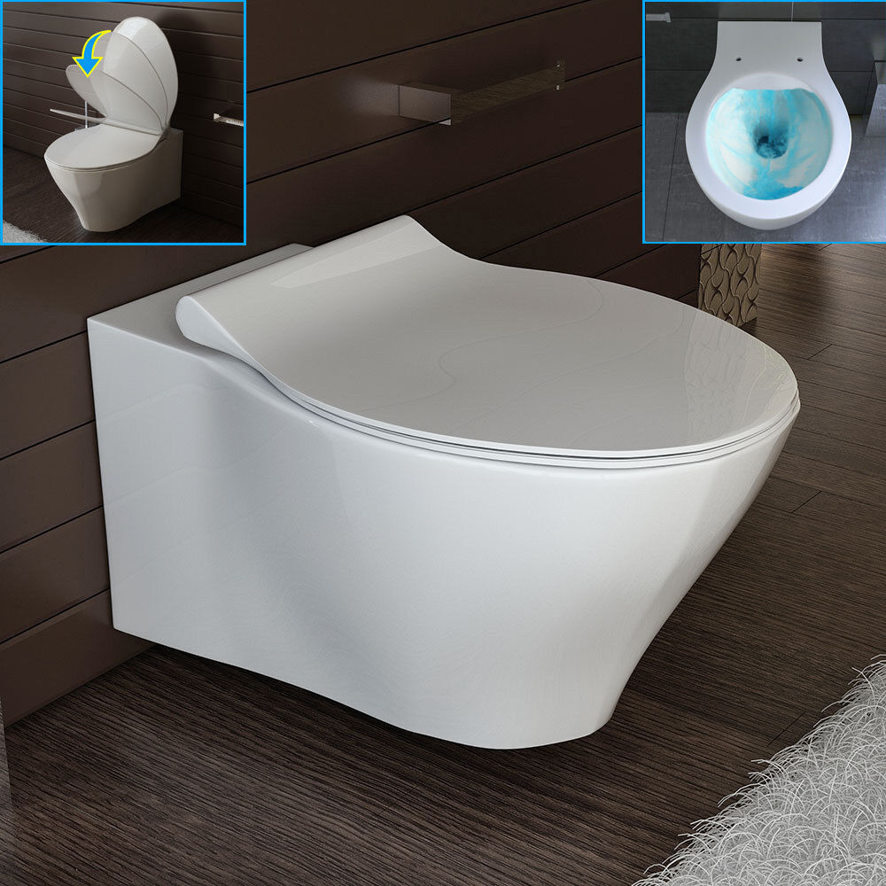 design h nge wand wc sp lrandlos toilette wc sitz mit softclose passend geberit ebay. Black Bedroom Furniture Sets. Home Design Ideas