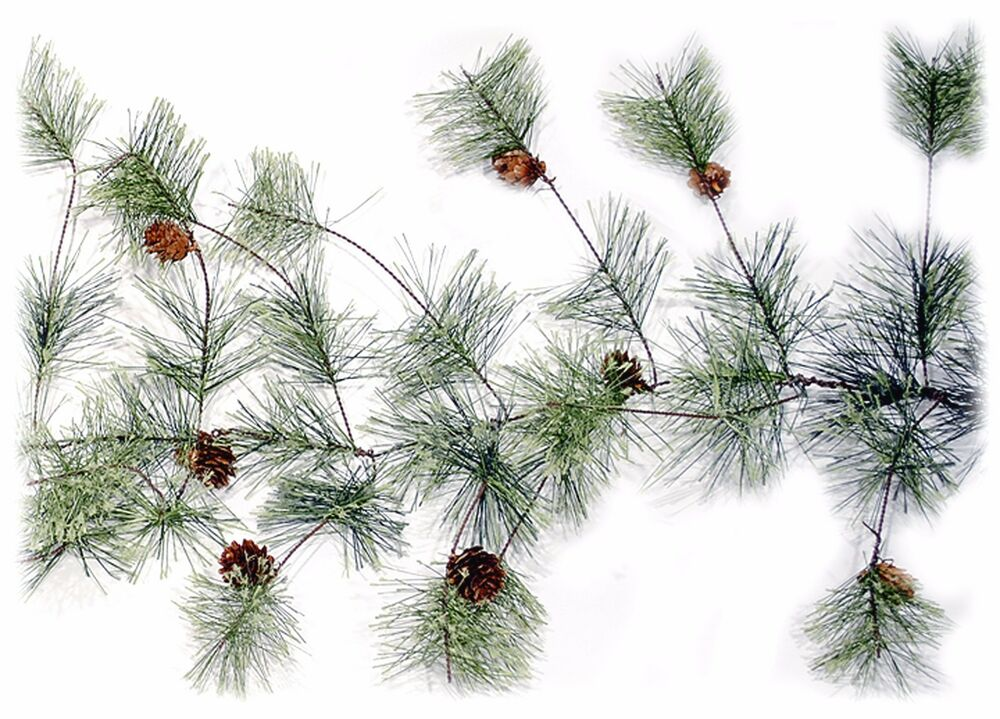 Artificial Smokey Pine Garland W/Pine Cones Christmas