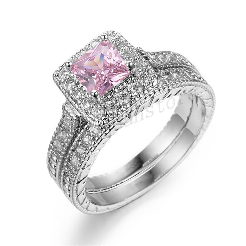 Sz6 10 Princess Pink Sapphire CZ Couple Wedding Rings Set