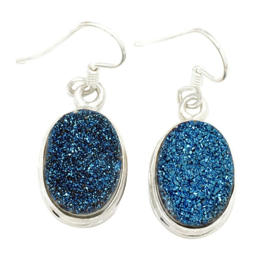 where to buy titanium earrings blue titanium druzy quartz earrings solid 925 sterling 6616