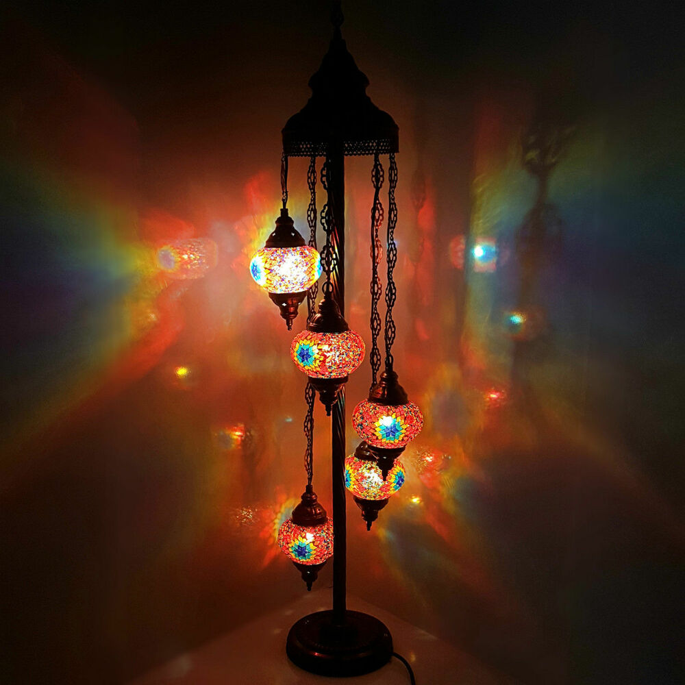 Premium handmade turkish moroccan tiffany glass floor lamp for Glass lantern floor lamp