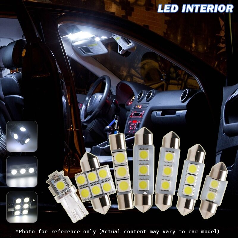 9 pcs white car led interior lights package kit for 2003