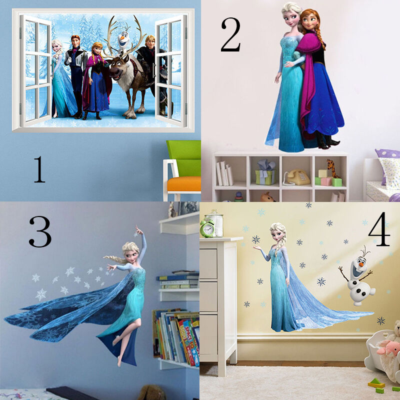 diy disney frozen elsa anna cartoon sticker mural decals 15172 | s l1000