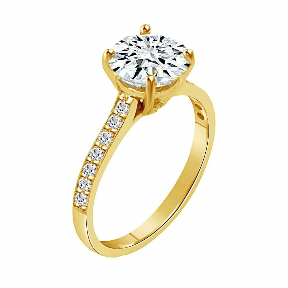 2 CT ROUND CUT D/VVS1 SOLITAIRE ENGAGEMENT RING 18K YELLOW ...