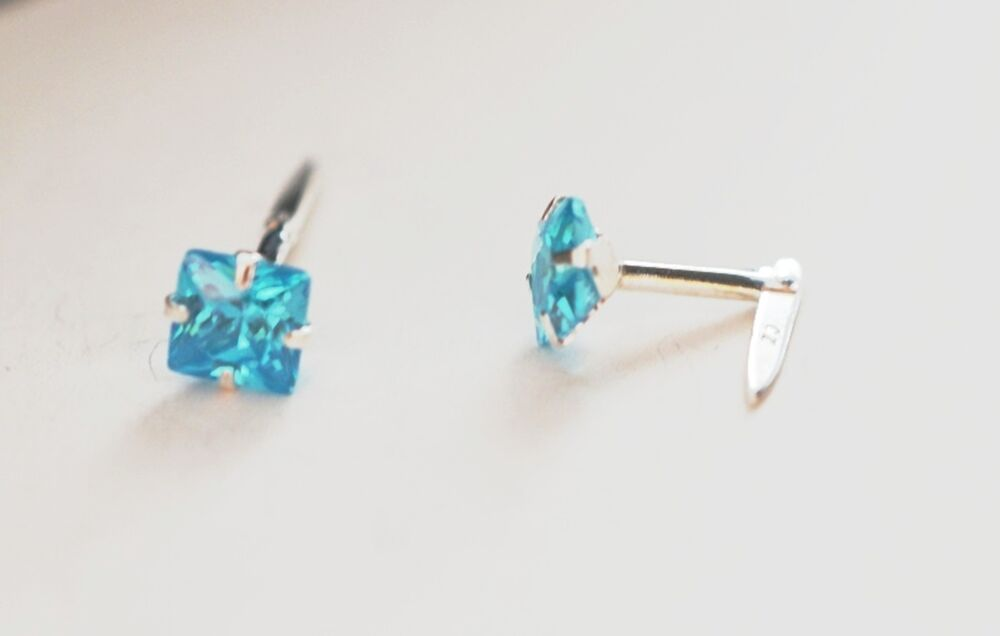 bcff1fd0a Details about Girls 925 Sterling Silver ANDRALOK Small 4mm Square Aquamarine  Studs B'Day GIFT