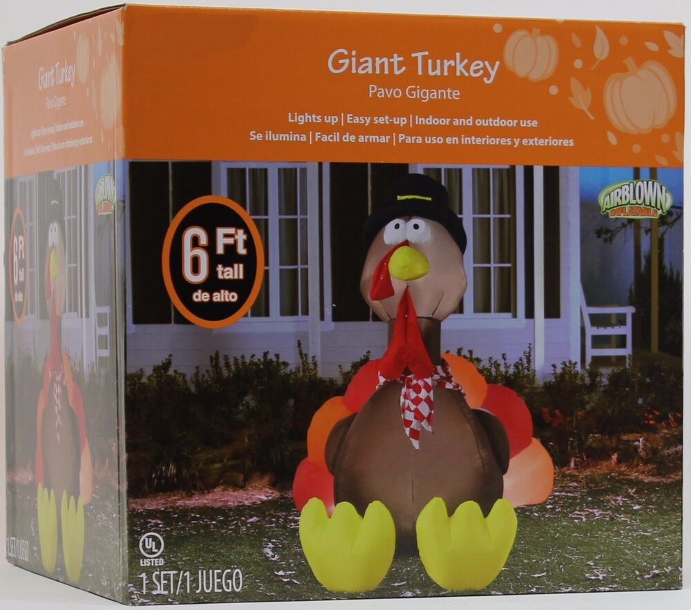 Gemmy thanksgiving 6 ft lighted giant turkey w pilgrim hat airblown inflatable ebay for Airblown turkey decoration
