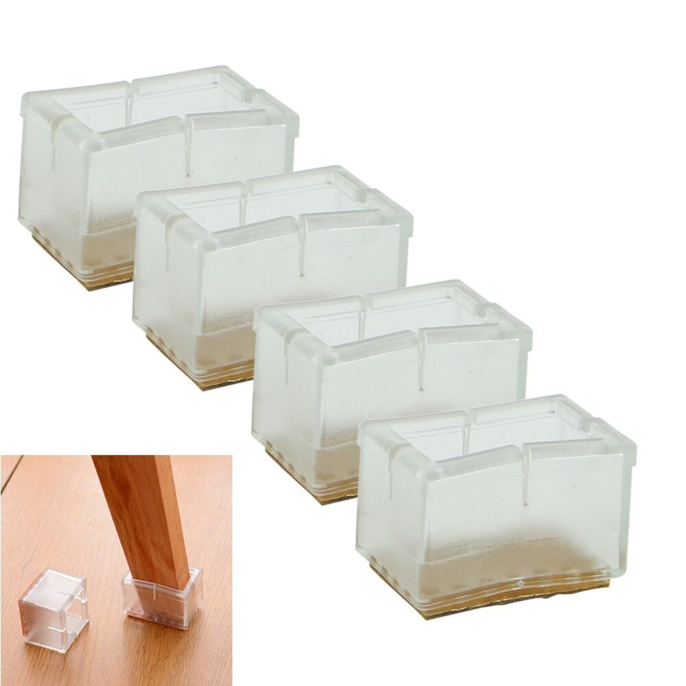8x New Rectangle Chair Leg Caps Rubber Feet Protector Pad