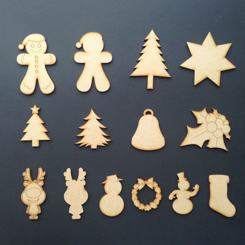 wooden mdf christmas bauble tree star holly xmas. Black Bedroom Furniture Sets. Home Design Ideas