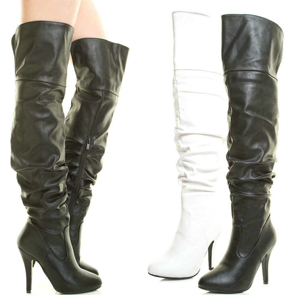 womens stiletto heel the knee thigh high boot slouch