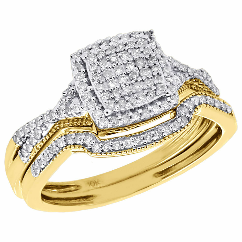 Diamond Wedding Bridal Set 10K Yellow Gold Square Cluster