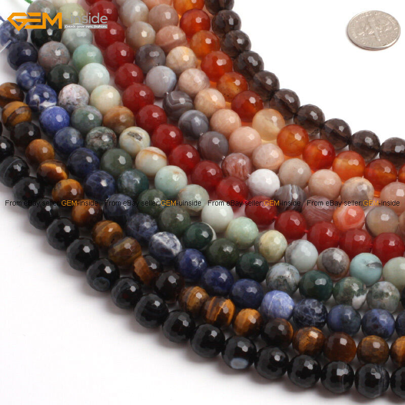 round faceted genuine gemstone jewelry making beads