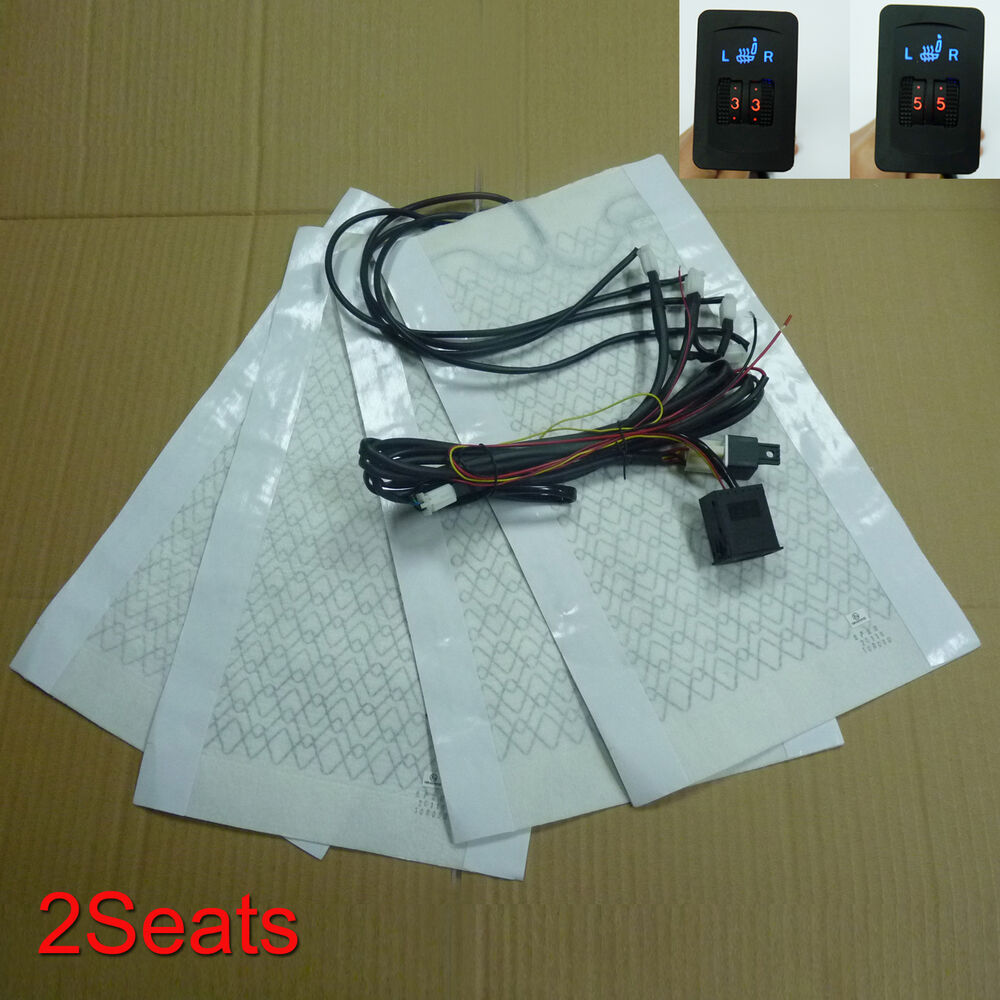 Universal Car Heated Seat Kit 2 Dial 5 Level Switch Seat: Universal Carbon Fiber Seat Heater Cushion Heated 2 Seats