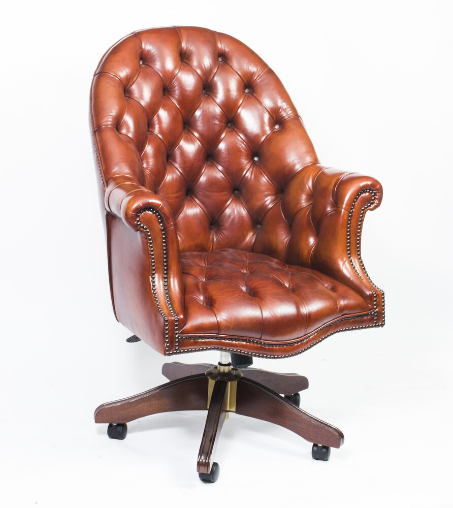Leather Table Chairs: English Hand Made Leather Directors Desk Chair