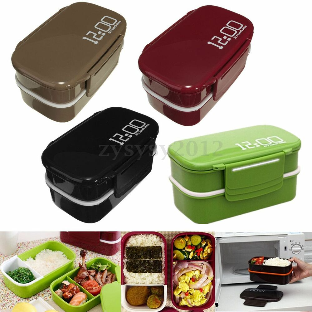 2 layer separated portable bento lunch box microwave oven food storage container ebay. Black Bedroom Furniture Sets. Home Design Ideas