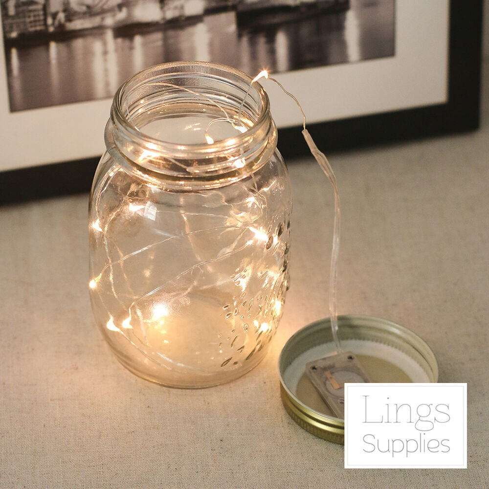 20LED String Fairy Lights w/Battery Warm White Wedding Mason Jar Decoration eBay