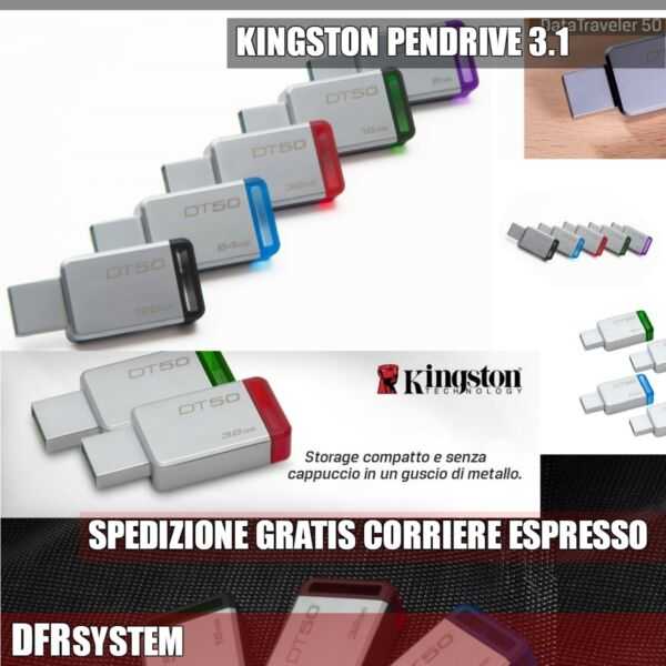 PENDRIVE USB DataTraveler DT50 MINI KINGSTON SCEGLI 8 16 32 64 USB 3.1 PEN DRIVE