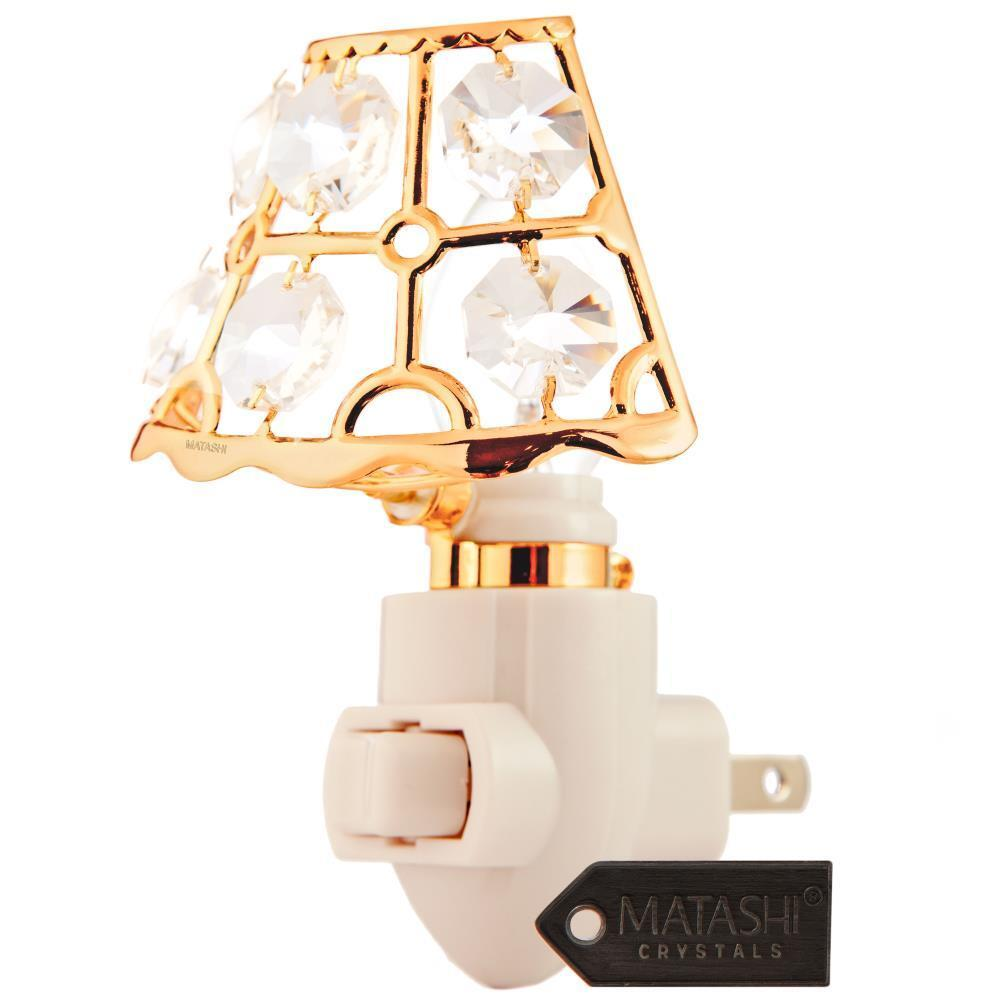 24K Gold Plated Crystal Studded Lamp Shade Night Light By