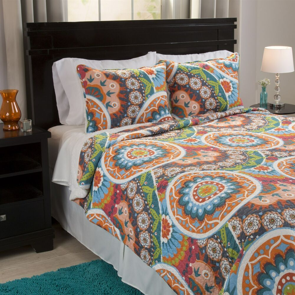 Abstract Bright Colorful Sherpa Backing Quilted Blanket