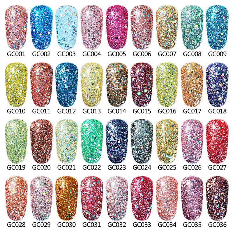 Gel Nail Polish Colors: Elite99 Glitter Color Gel Nail Polish Soak Off UV LED