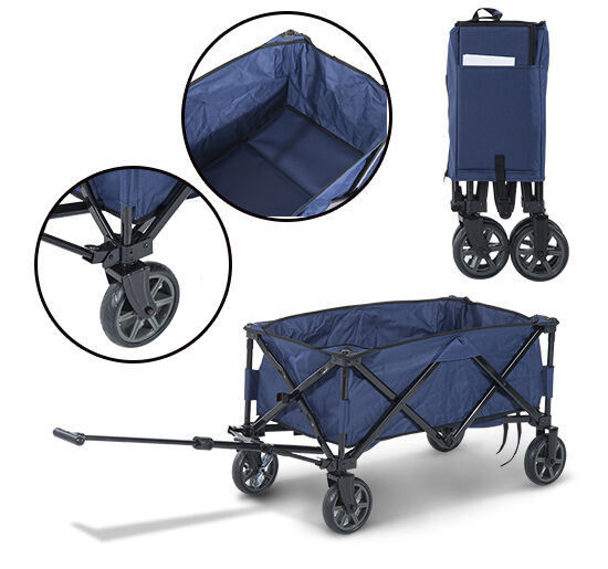 Folding wagon cart rollator collapsible utility w 4 wheels shopping