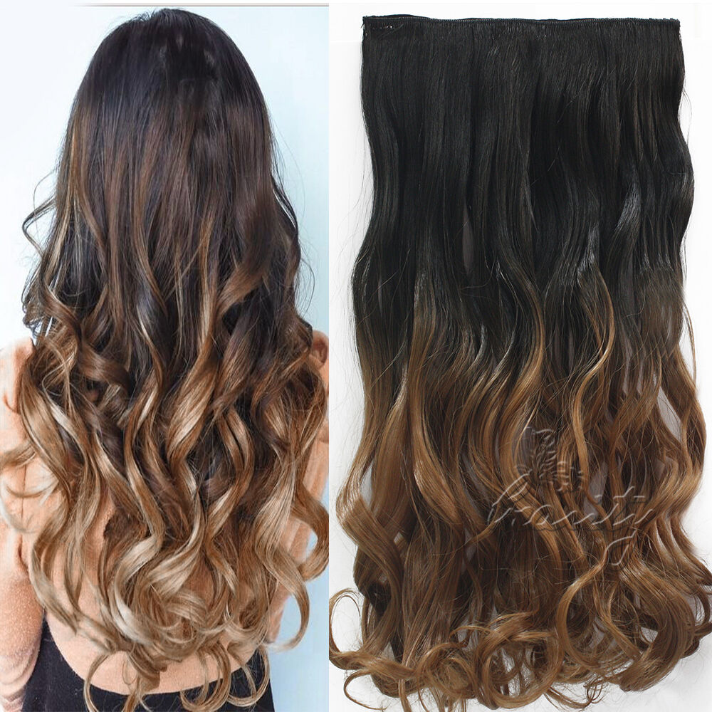 1pcs clip in ombre colored wavy thick hair extensions natural black dark brown ebay. Black Bedroom Furniture Sets. Home Design Ideas