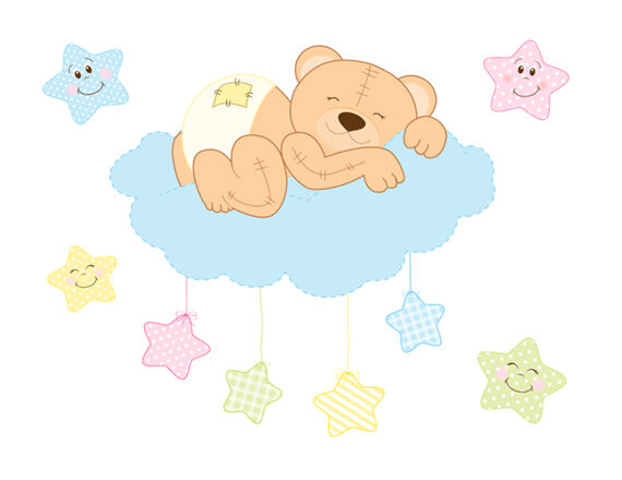 Teddy bear mural wall decals baby neutral woodland animals for Baby mural stickers