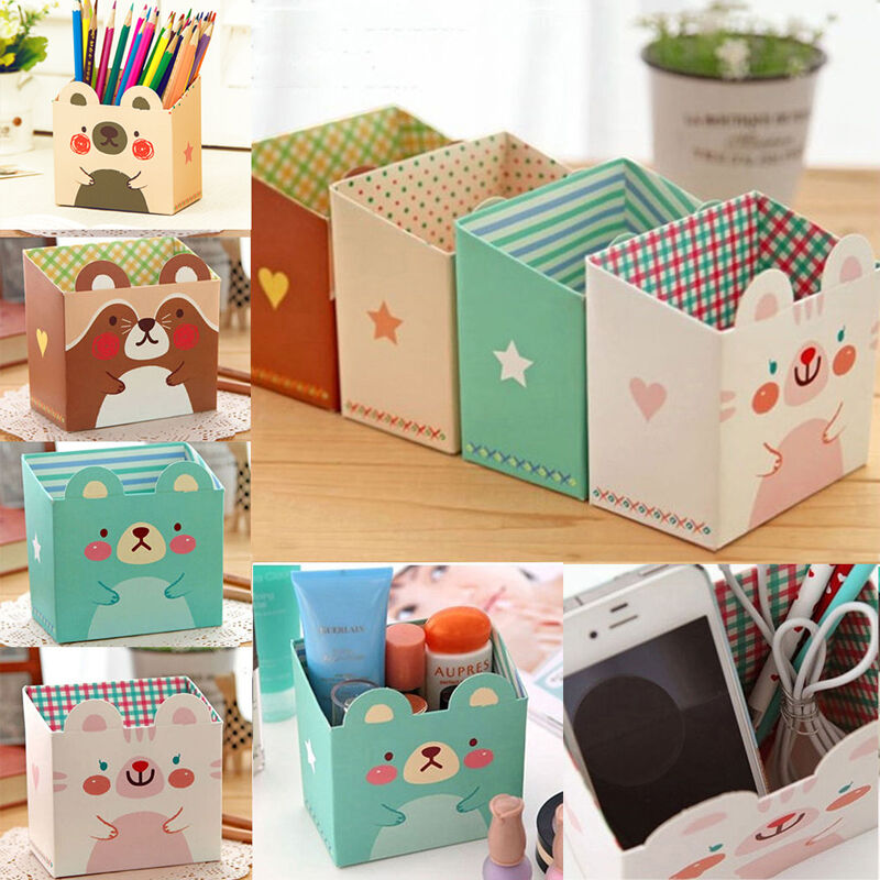 Paper board cosmetic storage box diy makeup desk organizer - Cute desk organizer ...