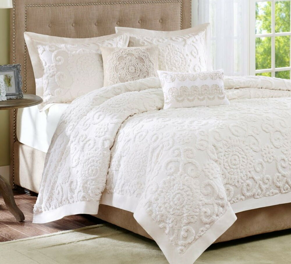 Ivory chenille full queen comforter set cottage vintage for Pictures of comforters