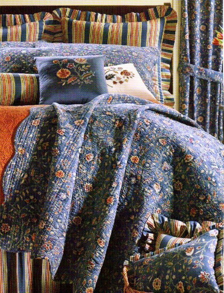 Wakefield Blue Full Queen Quilt Williamsburg Cottage Indigo Floral Comforter Ebay