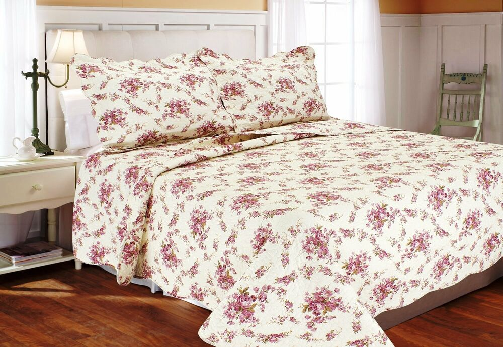 Red cottage rose full queen quilt set pink shabby garden for Shabby chic bedspreads comforters