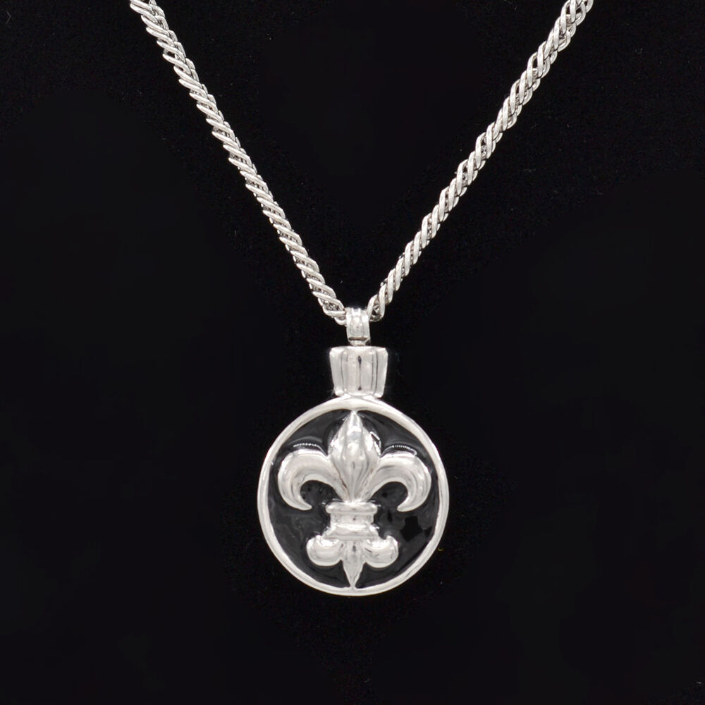 Fleur de lis urn cremation pendant necklace ash holder for Jewelry to hold cremation ashes