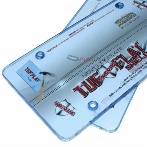 2 Blue Tinted License Plate Tag Frame Covers Shield