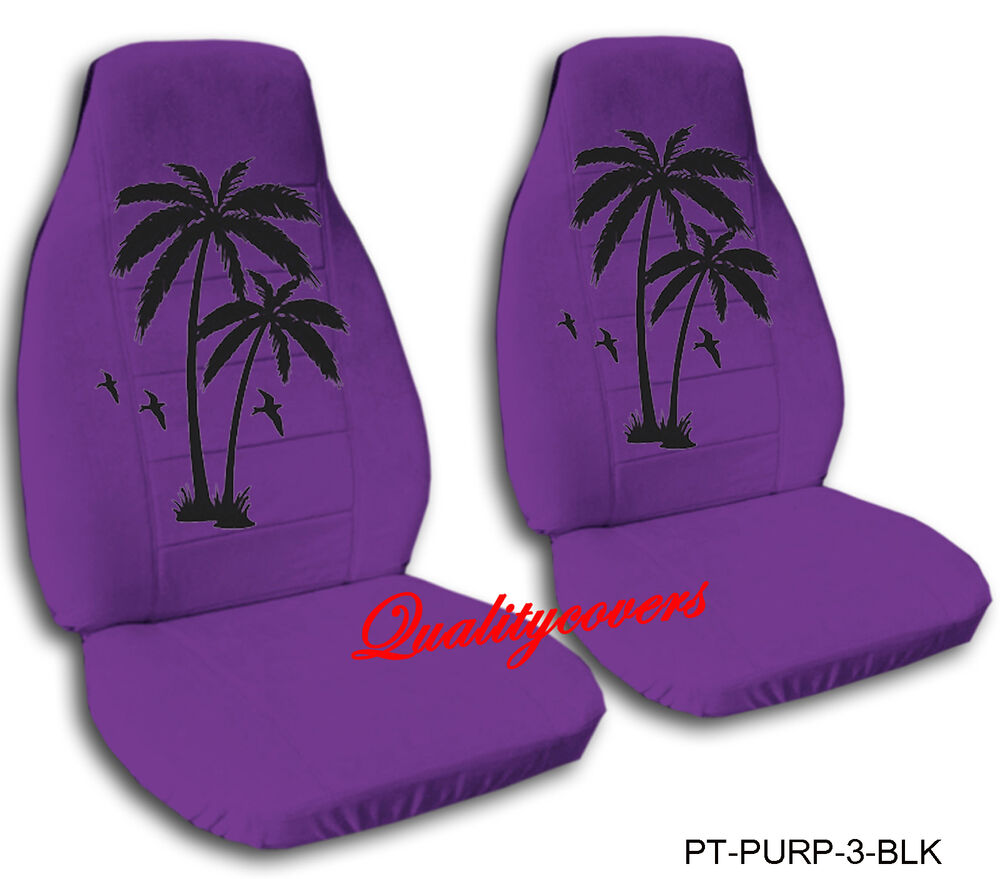 2 front purple seat covers with a palm tree in black 2007. Black Bedroom Furniture Sets. Home Design Ideas