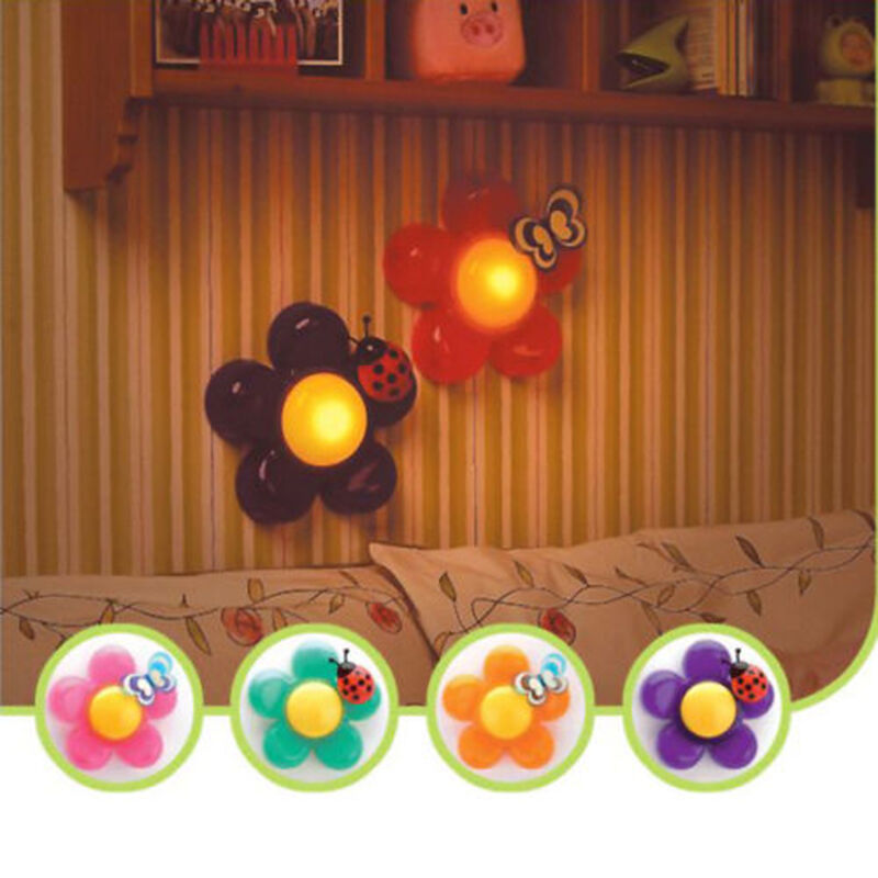 new cute kids nursery room decor bedside flower led touch lamp night. Black Bedroom Furniture Sets. Home Design Ideas