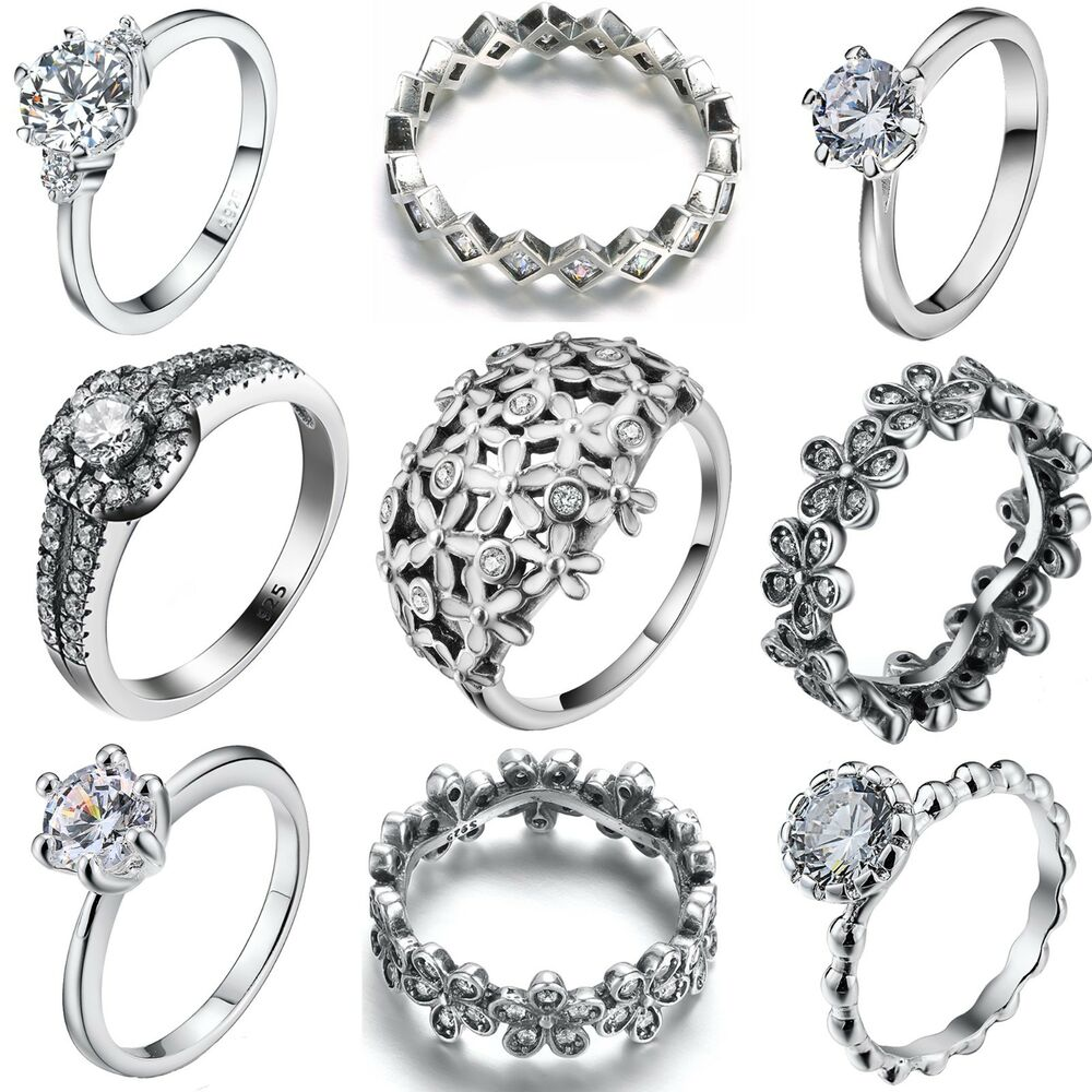 Size 6-9 Fashion Women Jewelry 925 Silver Sterling Ring