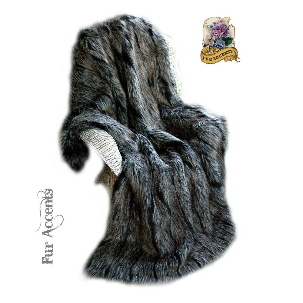 Premium Faux Fur Throw Blanket Bedspread Minky Black Gray  : s l1000 from www.ebay.com size 1000 x 1000 jpeg 124kB