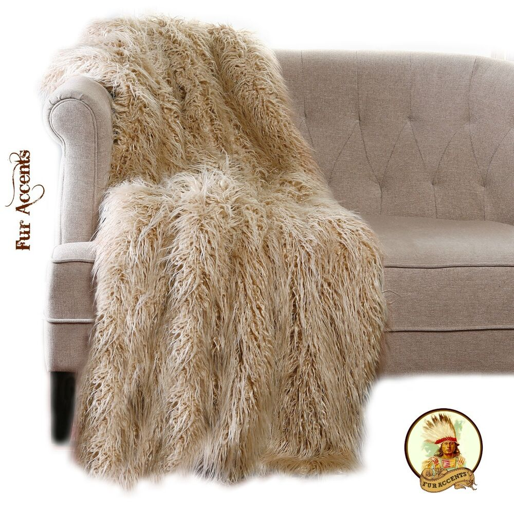 Premium Mongolian Faux Fur Throw Blanket Bedspread Minky
