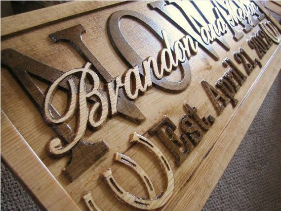 Personalized sign custom carved family last name barn