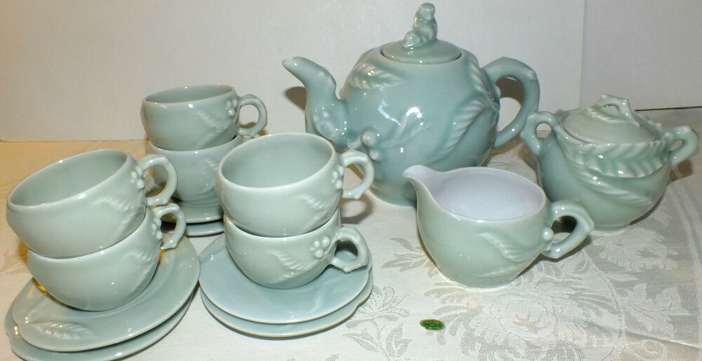 Chinese celadon green china tea pot set sugar creamer cups Green tea pot set