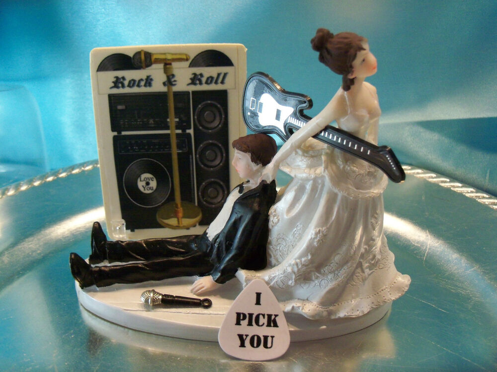 music wedding cake toppers humorous groom wedding cake topper guitar rock 17670