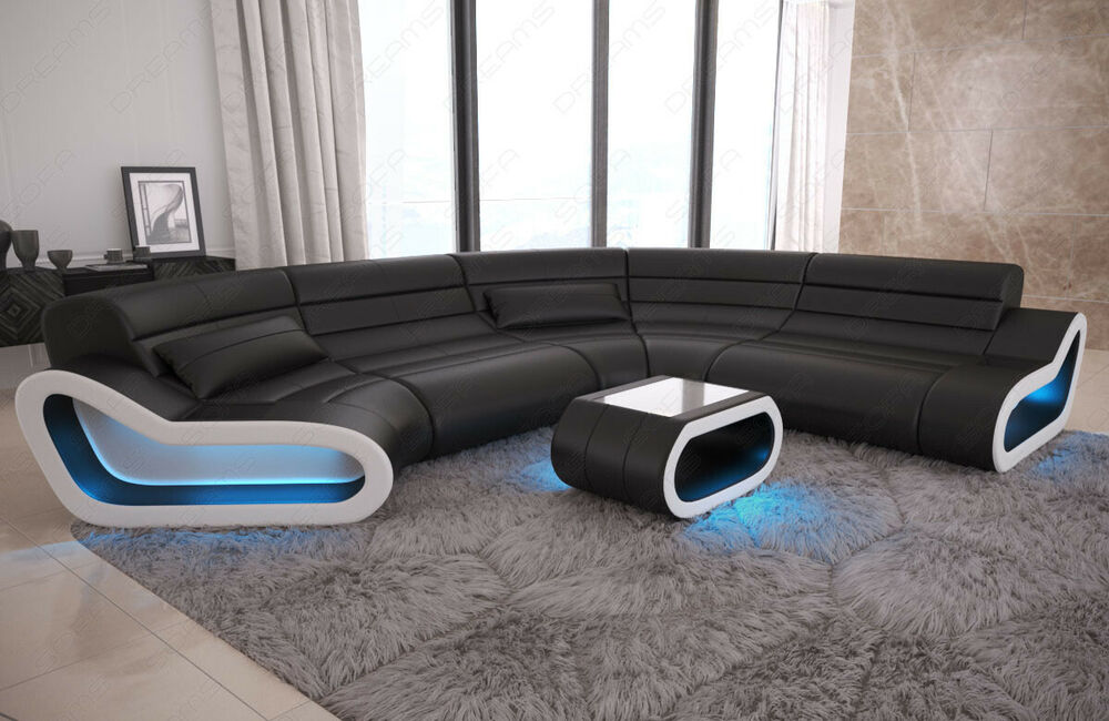 sofa wohnlandschaft leder couch design sofa ottomane concept xxl led beleuchtung ebay. Black Bedroom Furniture Sets. Home Design Ideas