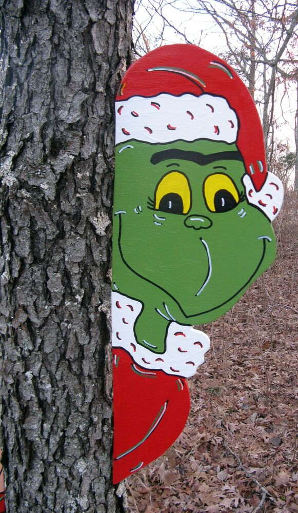 wooden christmas yard decorations | Grinch Tree Peeker Christmas Yard Art Decoration | eBay