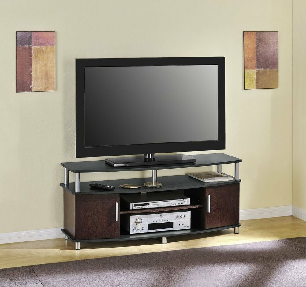 cherry black tv stand fits 50 inch tv entertainment console media flat screen ebay. Black Bedroom Furniture Sets. Home Design Ideas