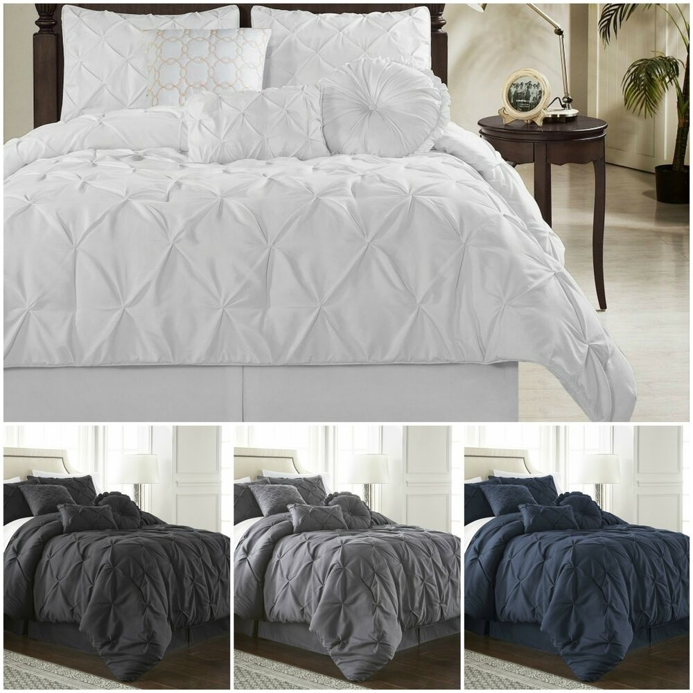 Pintuck Duvet: Chezmoi Collection Sydney 7-piece Pinch Pleat Pintuck
