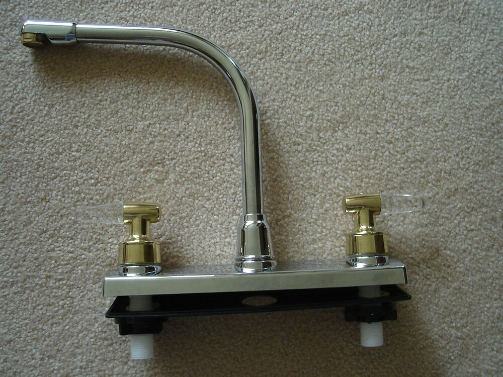 Rv marine kitchen sink faucet chrome with brass clear - Rv kitchen sink faucet ...