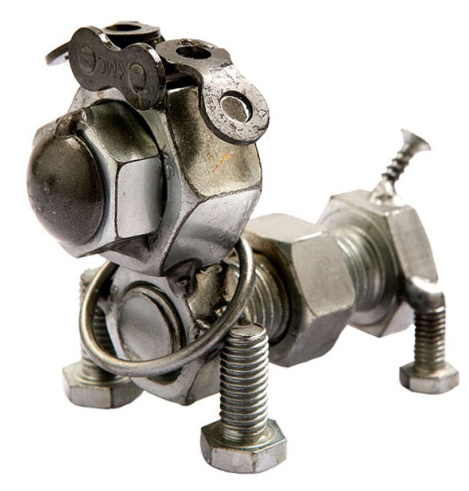 hand crafted recycled metal bolt dog art sculpture figurine  ebay -