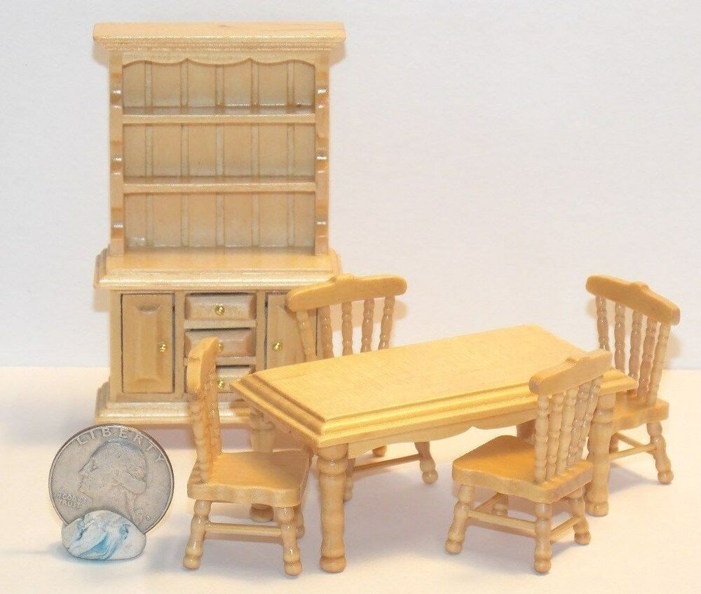 Dollhouse Miniature Dining Room Set Table Chairs Hutch 1