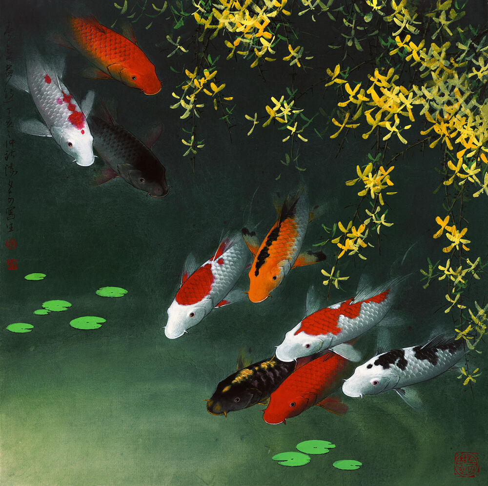 Modern hd print animal art oil painting canvas feng shui for Koi canvas print